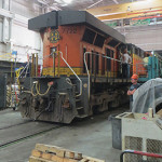 BNSF locomotive inside diesel shop