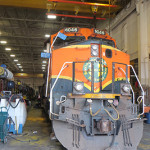 Locomotive being serviced inside diesel shop - Galesburg